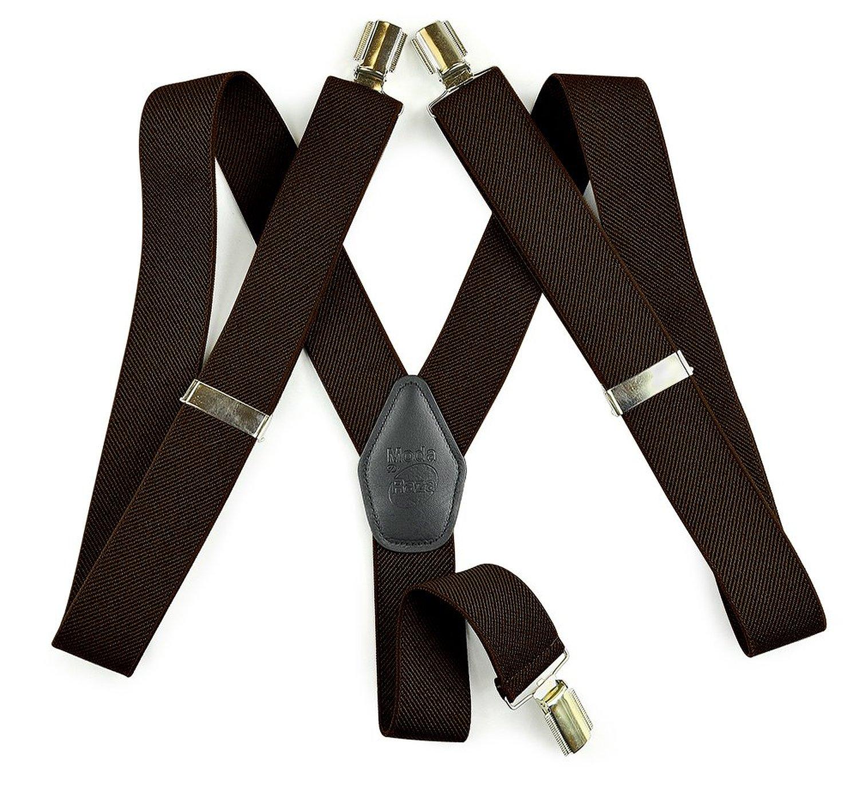 """Moda Di Raza Suspender For Men Heavy Duty Y Type Clip 2"""" Adjustable Straight Clip Suspenders - Brown"""