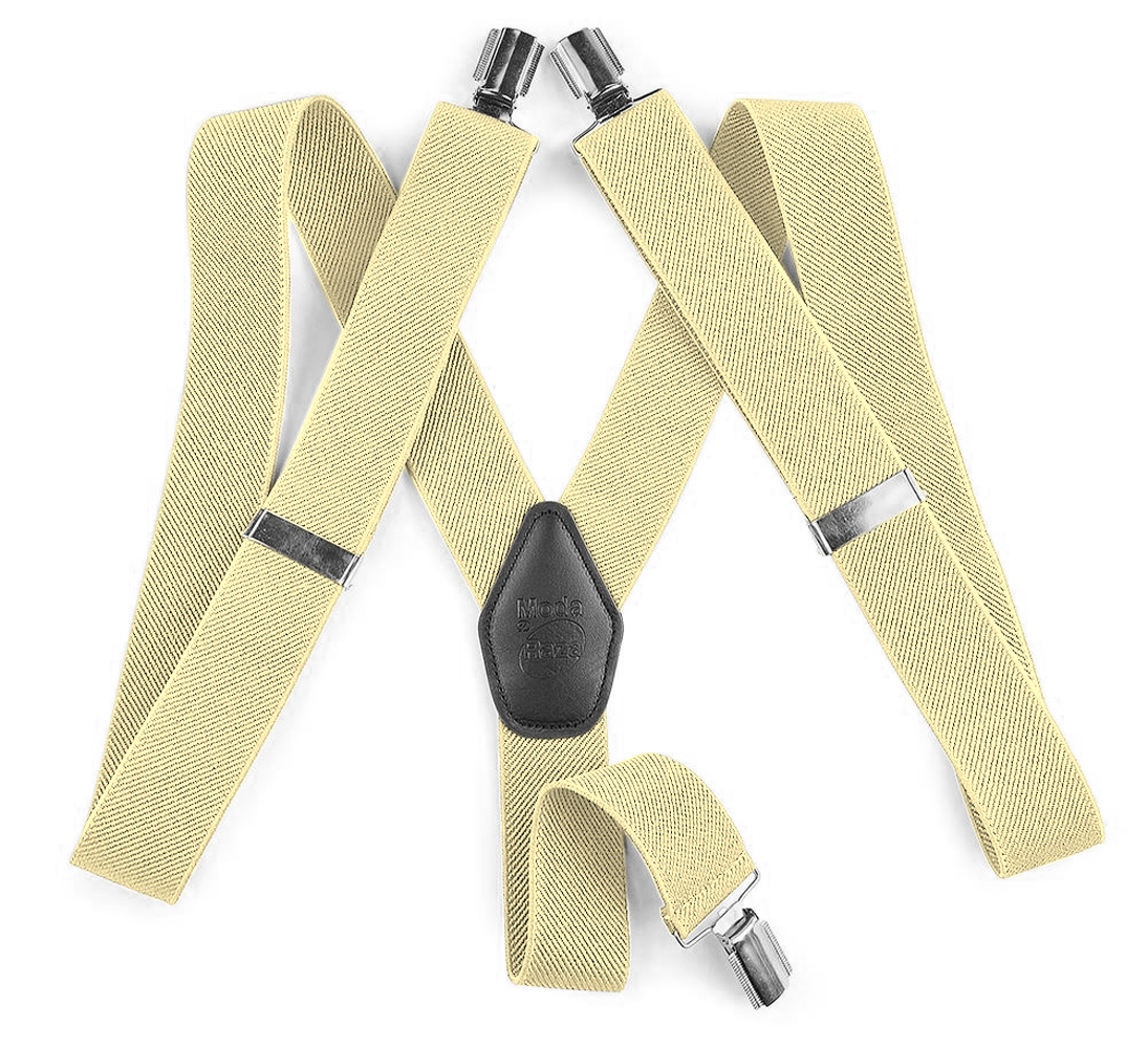 """Moda Di Raza Suspender For Men Heavy Duty Y Type Clip 2"""" Adjustable Straight Clip Suspenders - Beige"""