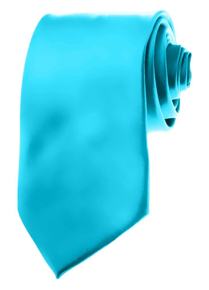 "Mens Neckties - Solid Color Ties - 3.5"" Basic Neck Ties for Men by Moda Di Raza - Turquoise Blue"