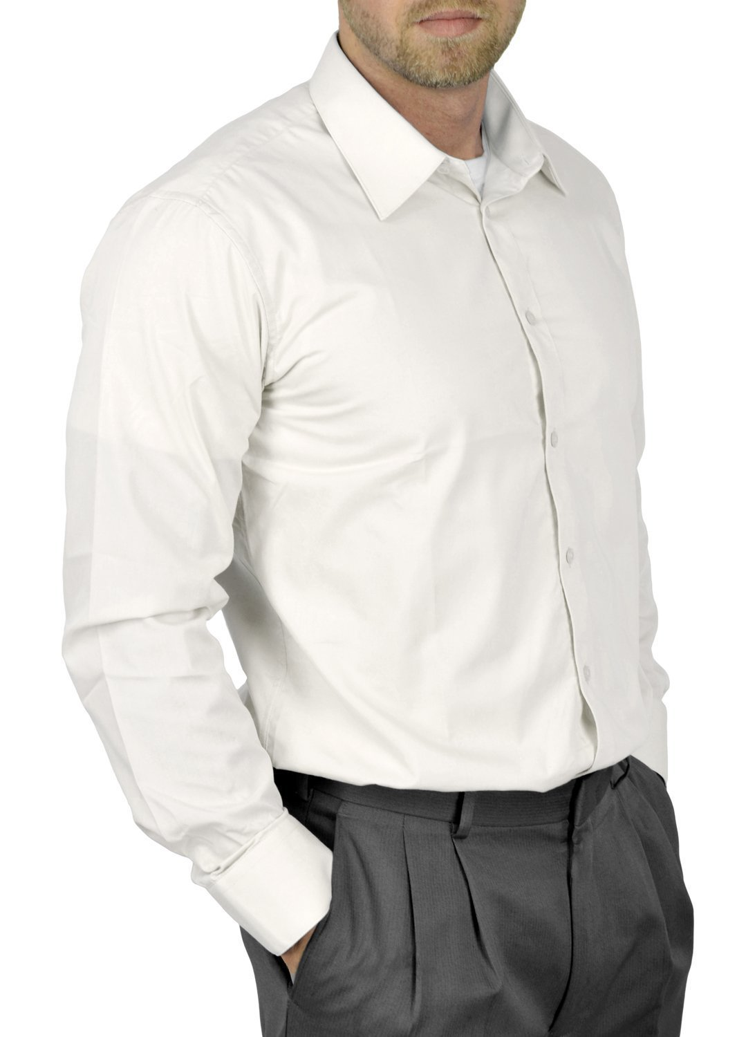Moda Di Raza Mens Dress Shirt Slim and Regular Fit Office Casual French Cuff White 17.5