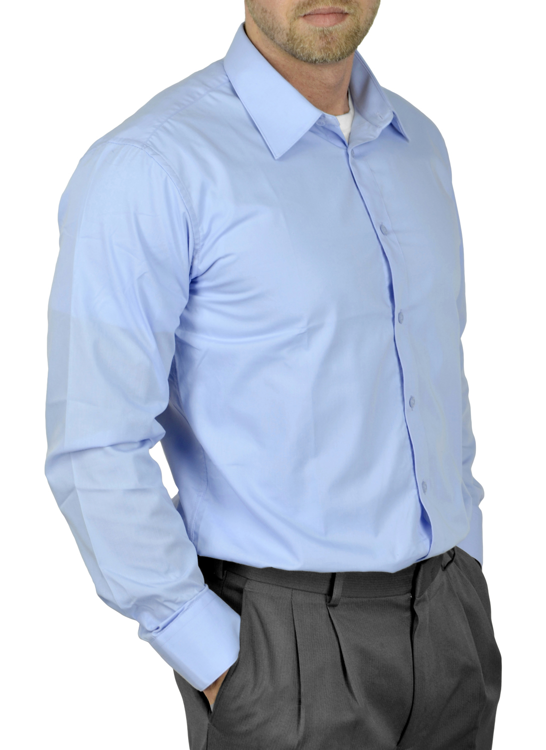 Moda Di Raza Mens Dress Shirt Slim and Regular Fit Office Casual French Cuff Baby Blue 17.5