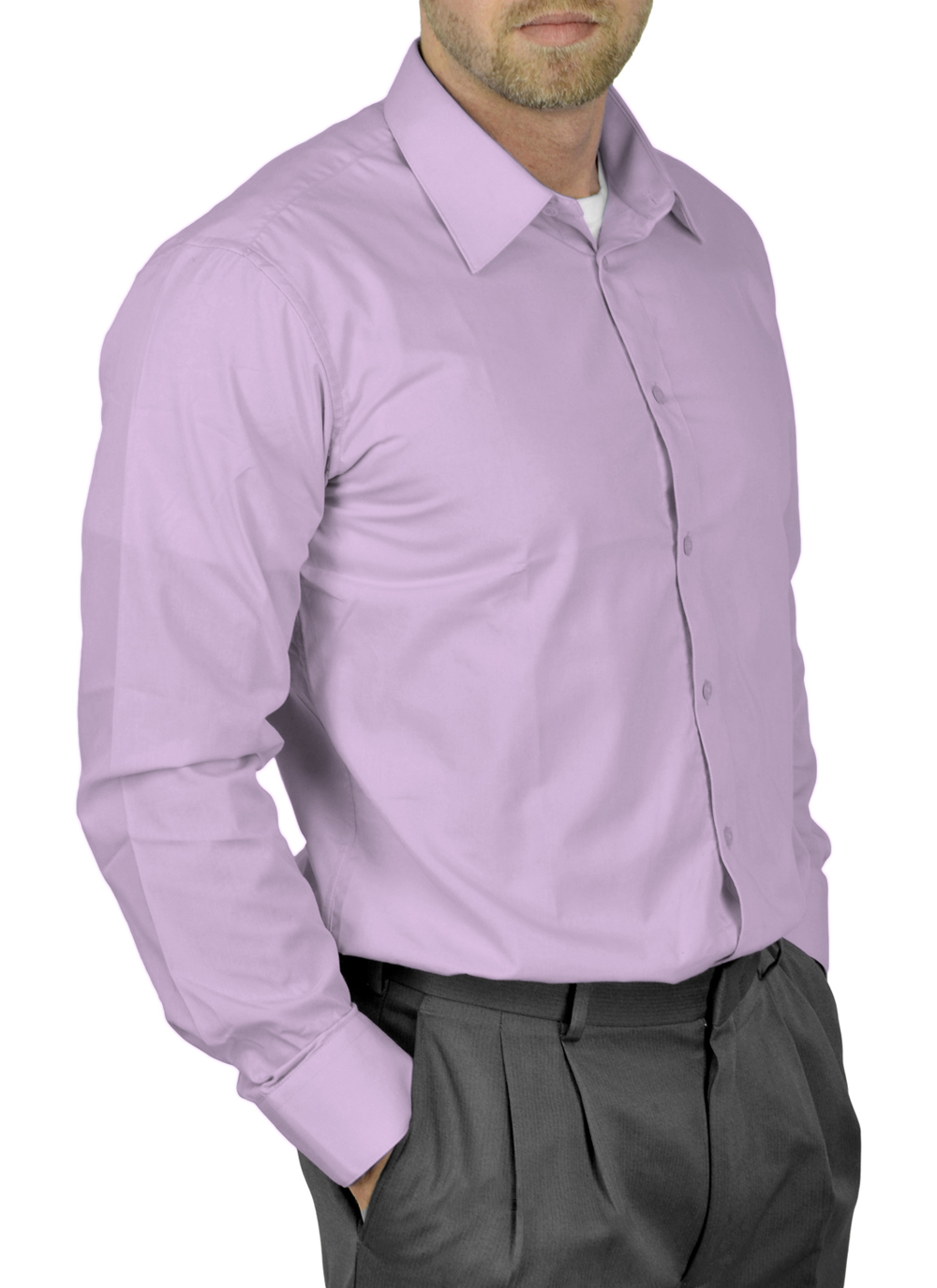 Mens Dress Shirt Slim and Regular Fit Office Casual French Cuff Moda Di Raza - Lavender 16.5