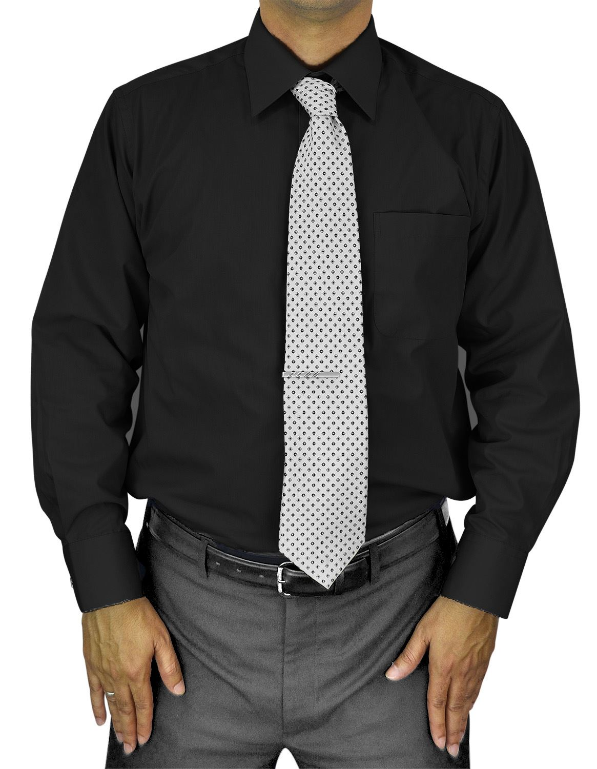 Mens Dress Shirt Slim and Regular Fit Office Casual French Cuff Moda Di Raza - Black 14.5