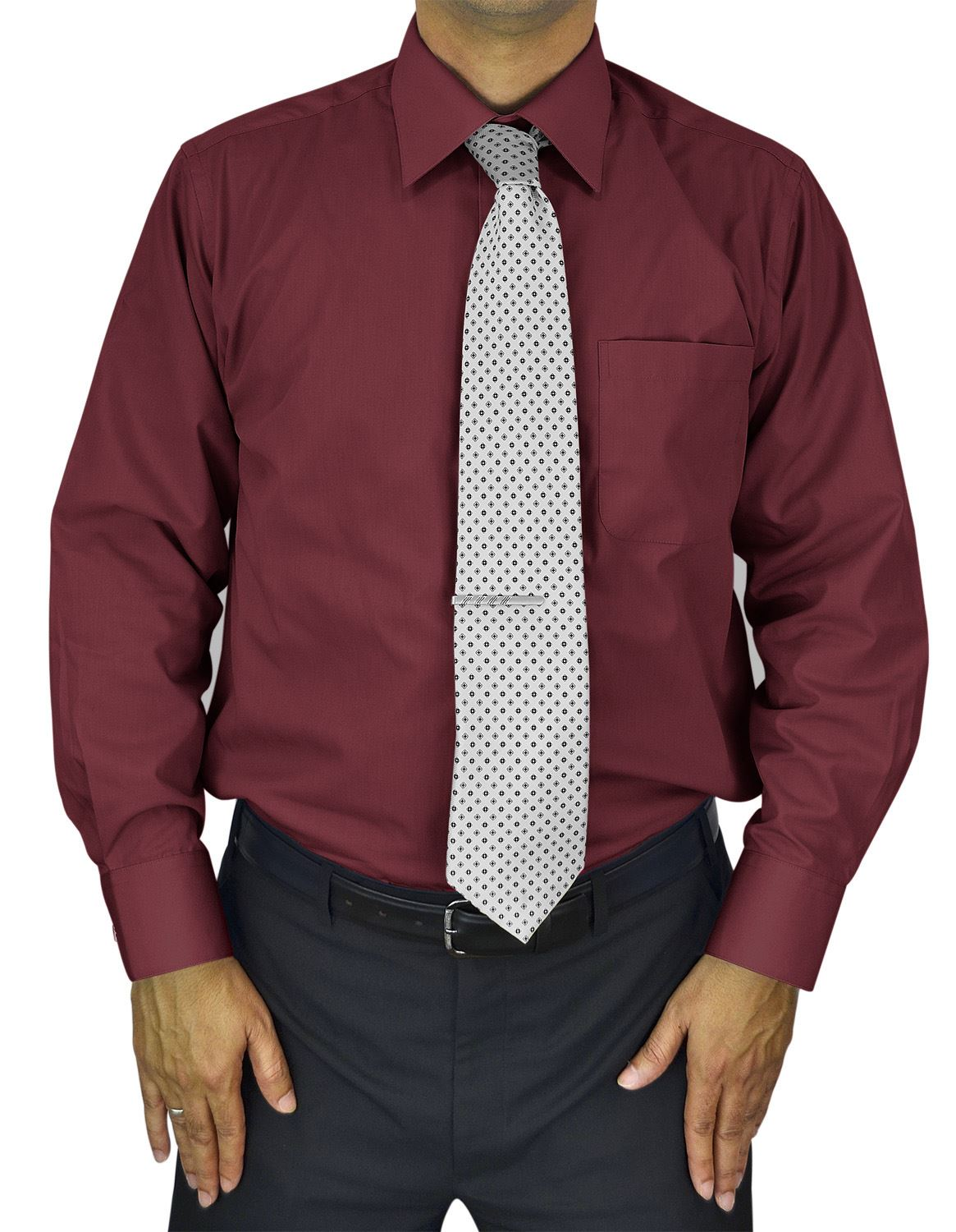 Mens Dress Shirt Slim and Regular Fit Office Casual French Cuff Moda Di Raza - Burgundy 14.5
