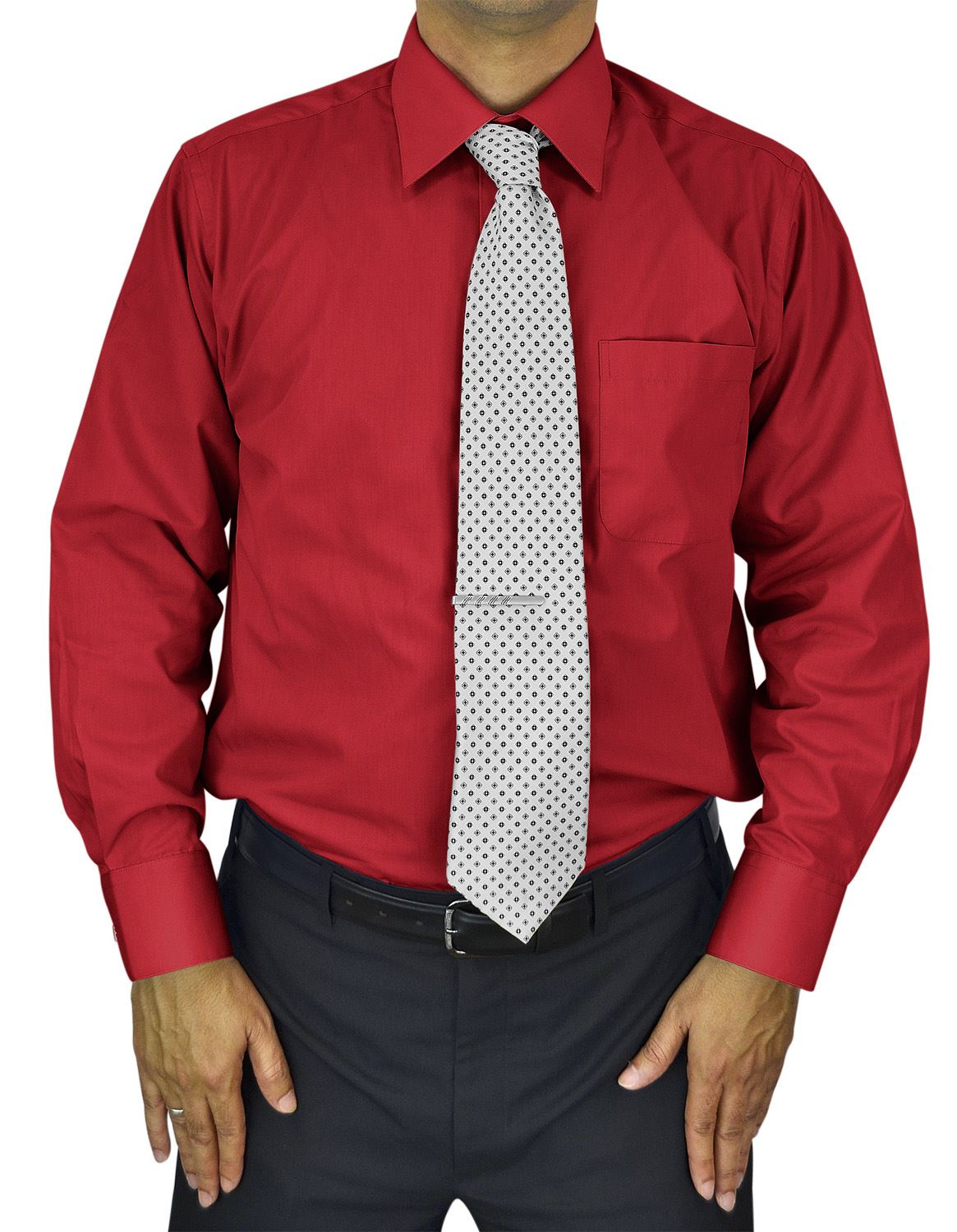 Mens Dress Shirt Slim and Regular Fit Office Casual French Cuff Moda Di Raza - Red 14.5