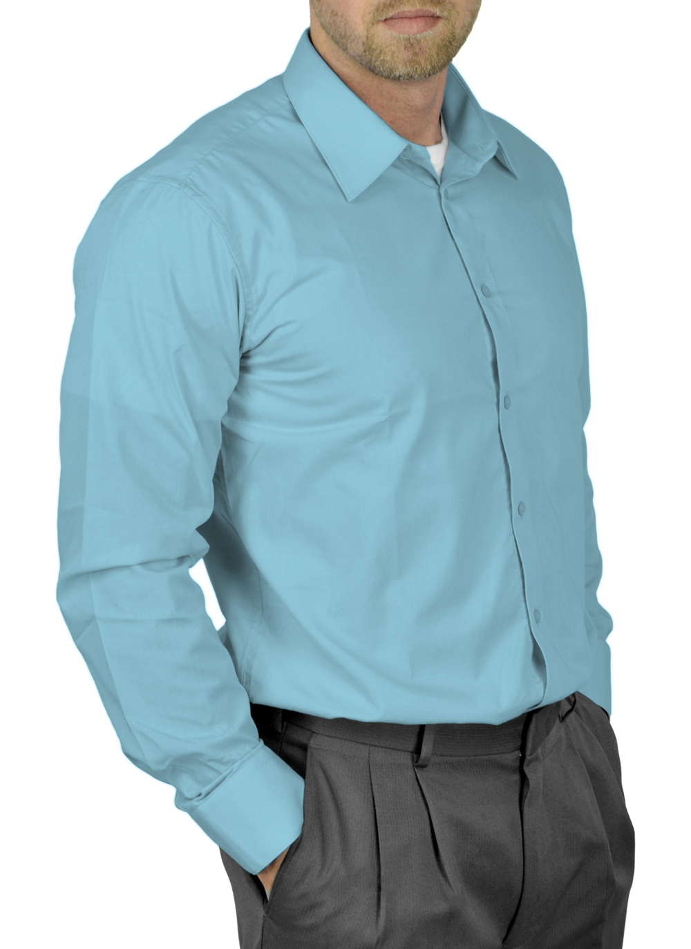 Mens Dress Shirt Slim and Regular Fit Office Casual French Cuff Moda Di Raza - Teal 14.5