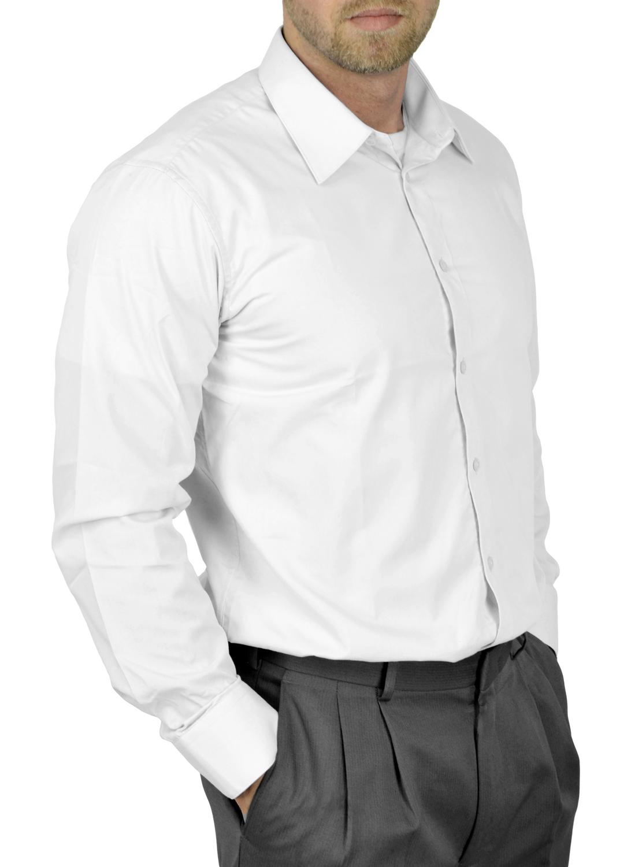 Moda Di Raza Mens Dress Shirt Slim and Regular Fit Office Casual French Cuff White 16.5