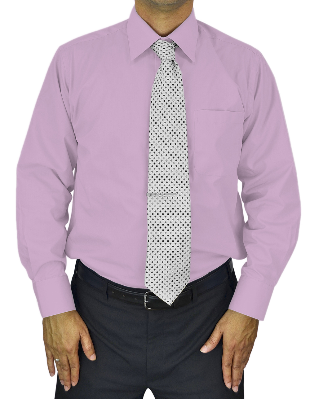 Mens Dress Shirt Slim and Regular Fit Office Casual French Cuff Moda Di Raza - Lavender 14.5