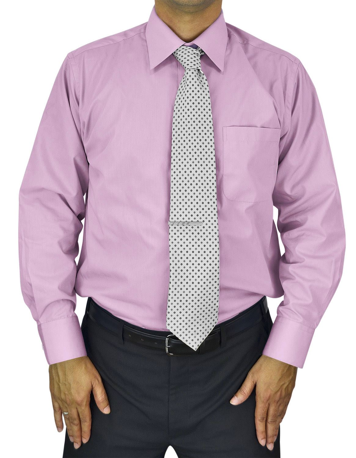 Mens Dress Shirt Slim and Regular Fit Office Casual French Cuff Moda Di Raza - Pink 14.5