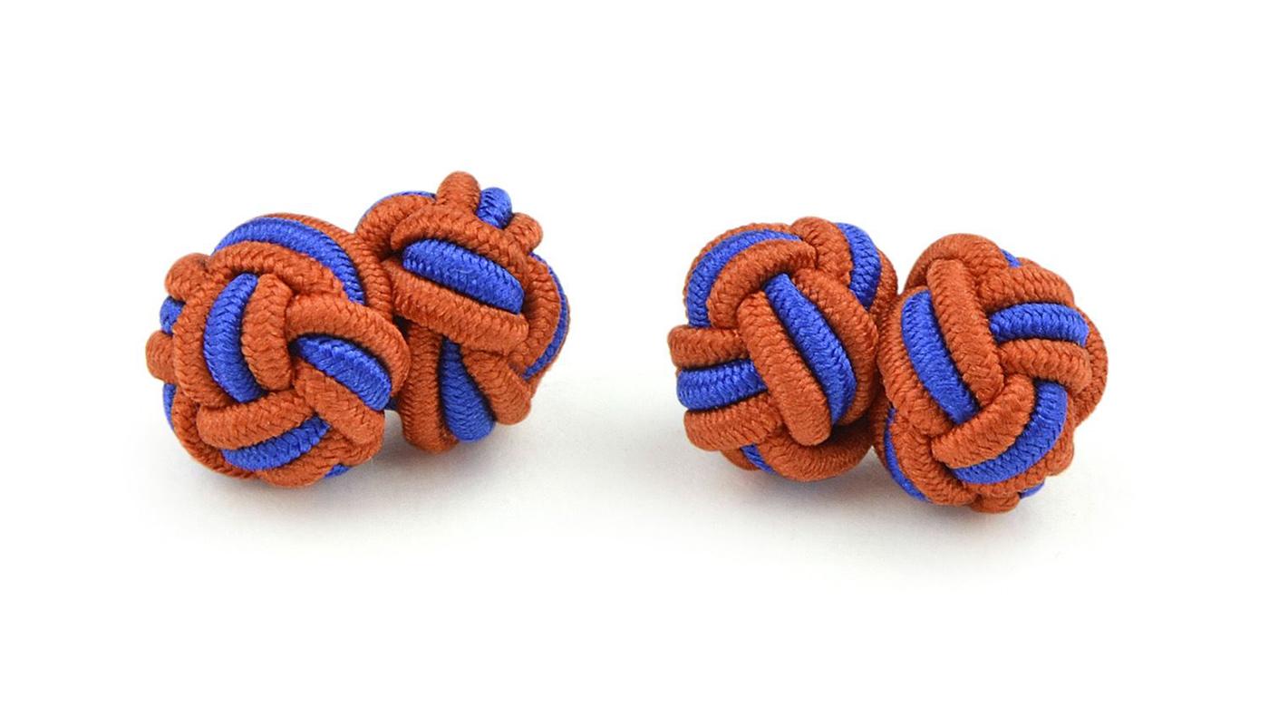 Moda Di Raza- Mens Shirt Cufflinks Silk Knot Designer Cuff links French Cuffs - Brown