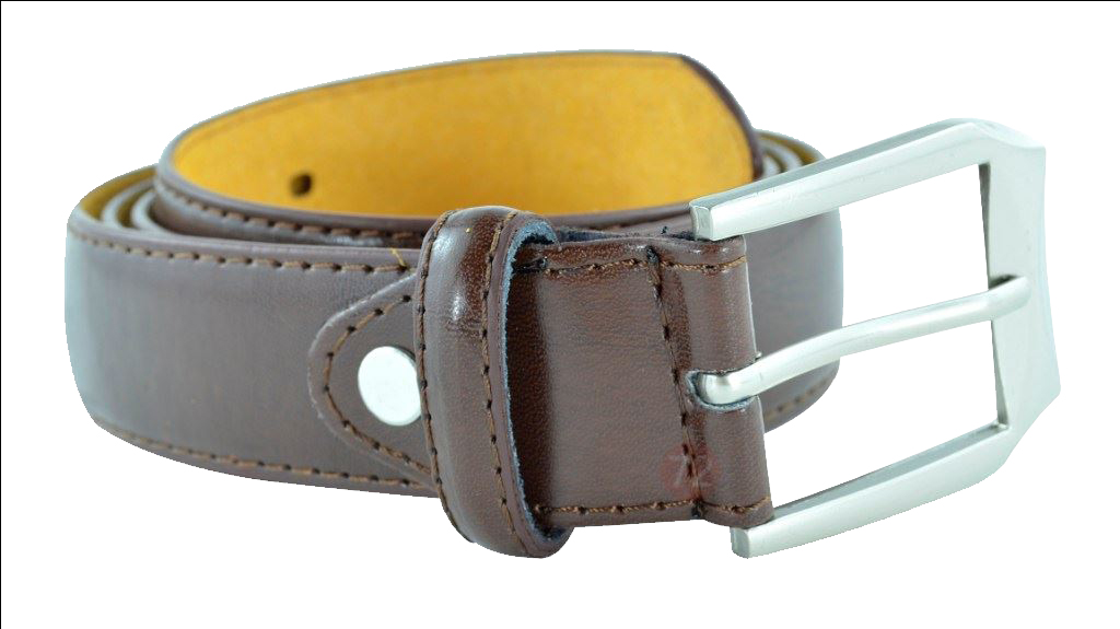 Moda Di Raza Men's Dress Belt Leather With Square Buckle Silver Polished - Single Prong Buckle - Brown/Large