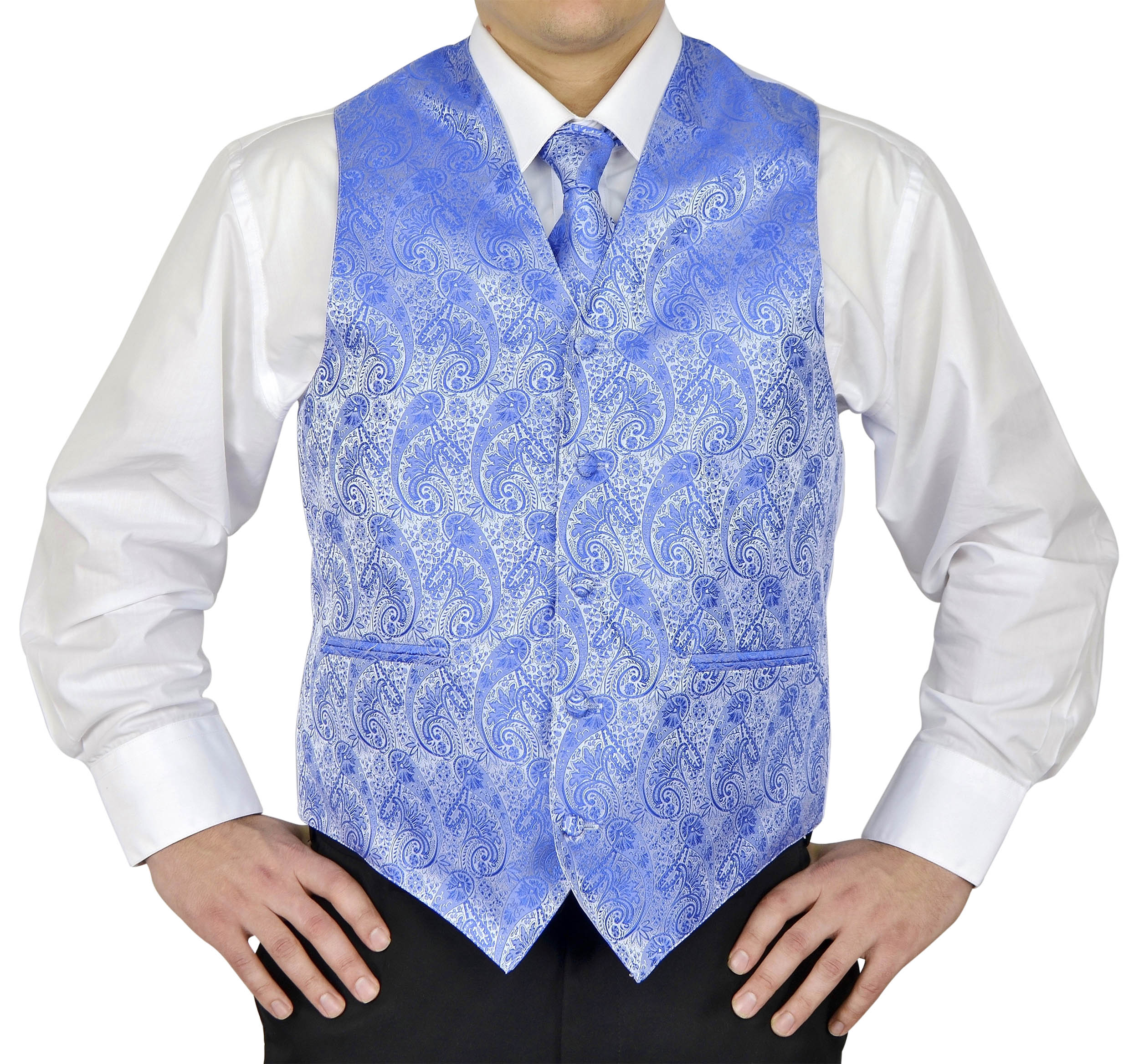 Moda Di Raza- 4 Pc Mens Paisley Tuxedo Dress Suit | Vest | Hanky | Tie | Bow-Tie - Blue X-Large (Chest 46)