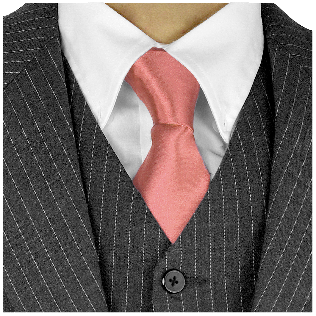 Long Ties For Men 3in Satin Silk Finish Neck Ties Fashion Solid Color - PalmCoast Coral