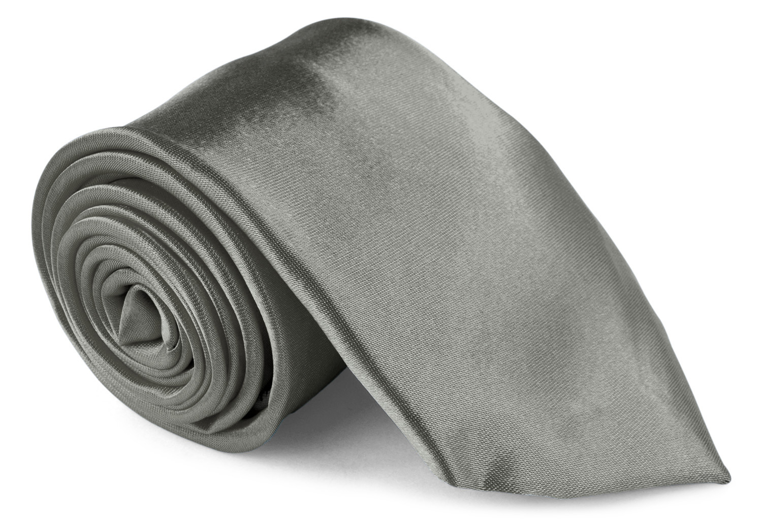 Men Ties Contemprary Width 3 Inch Satin Finish - Dark Silver Neckties