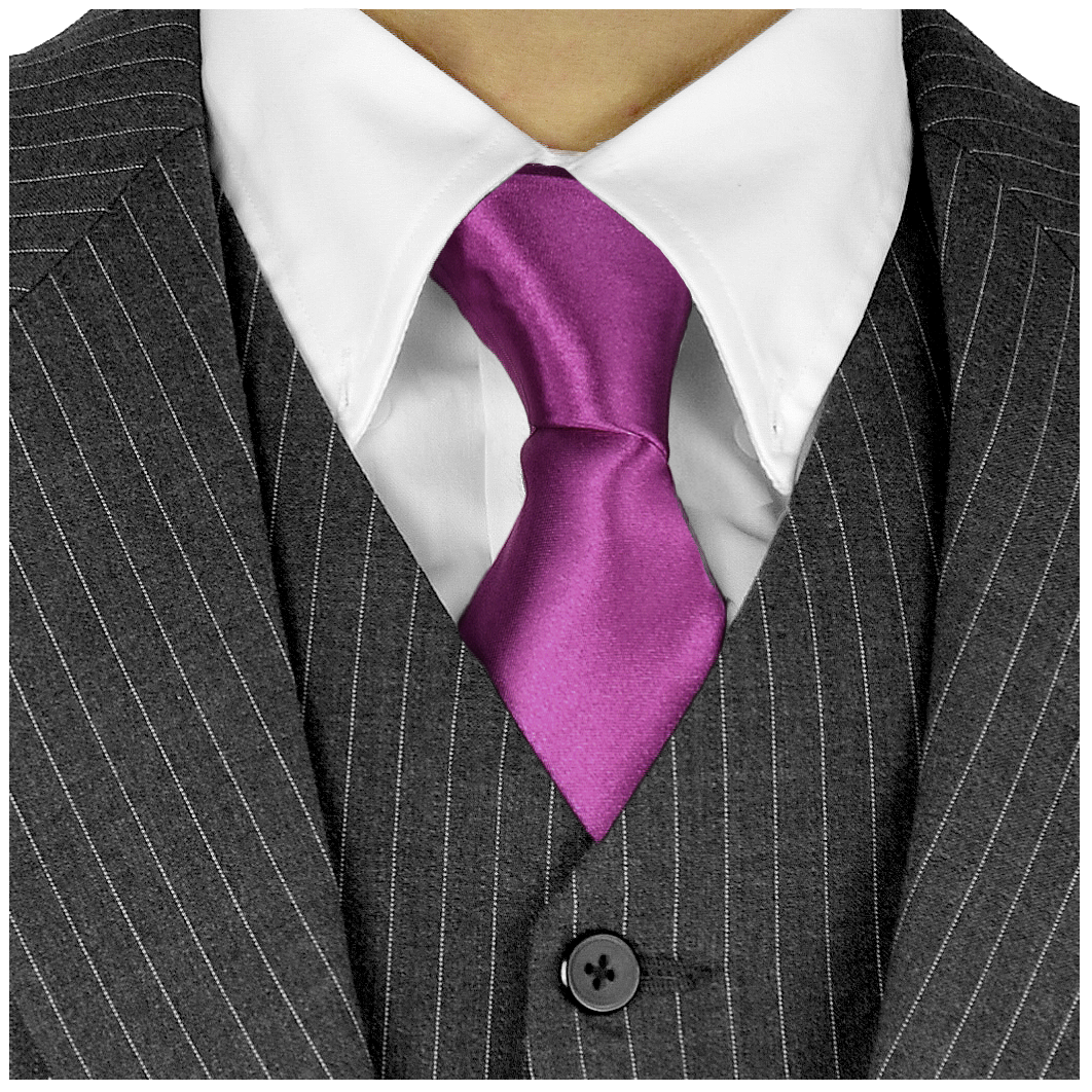 Long Ties For Men 3in Satin Silk Finish Neck Ties Fashion Solid Color - Plum Violet Neckties