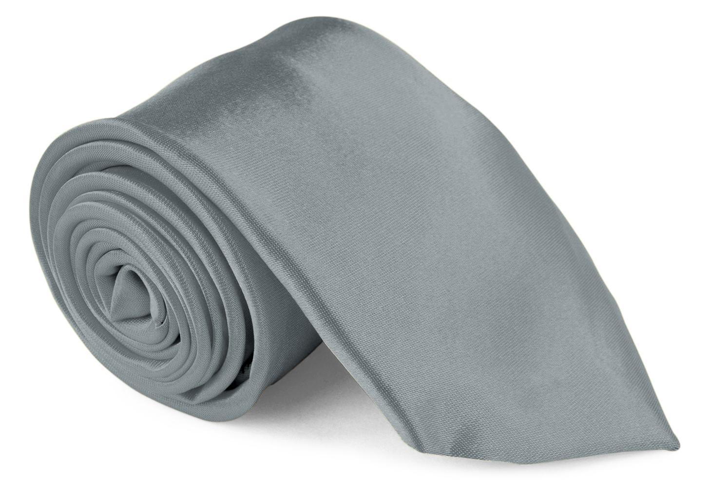 Men Ties Contemprary Width 3 Inch Satin Finish - Gun Metal Gray Neckties