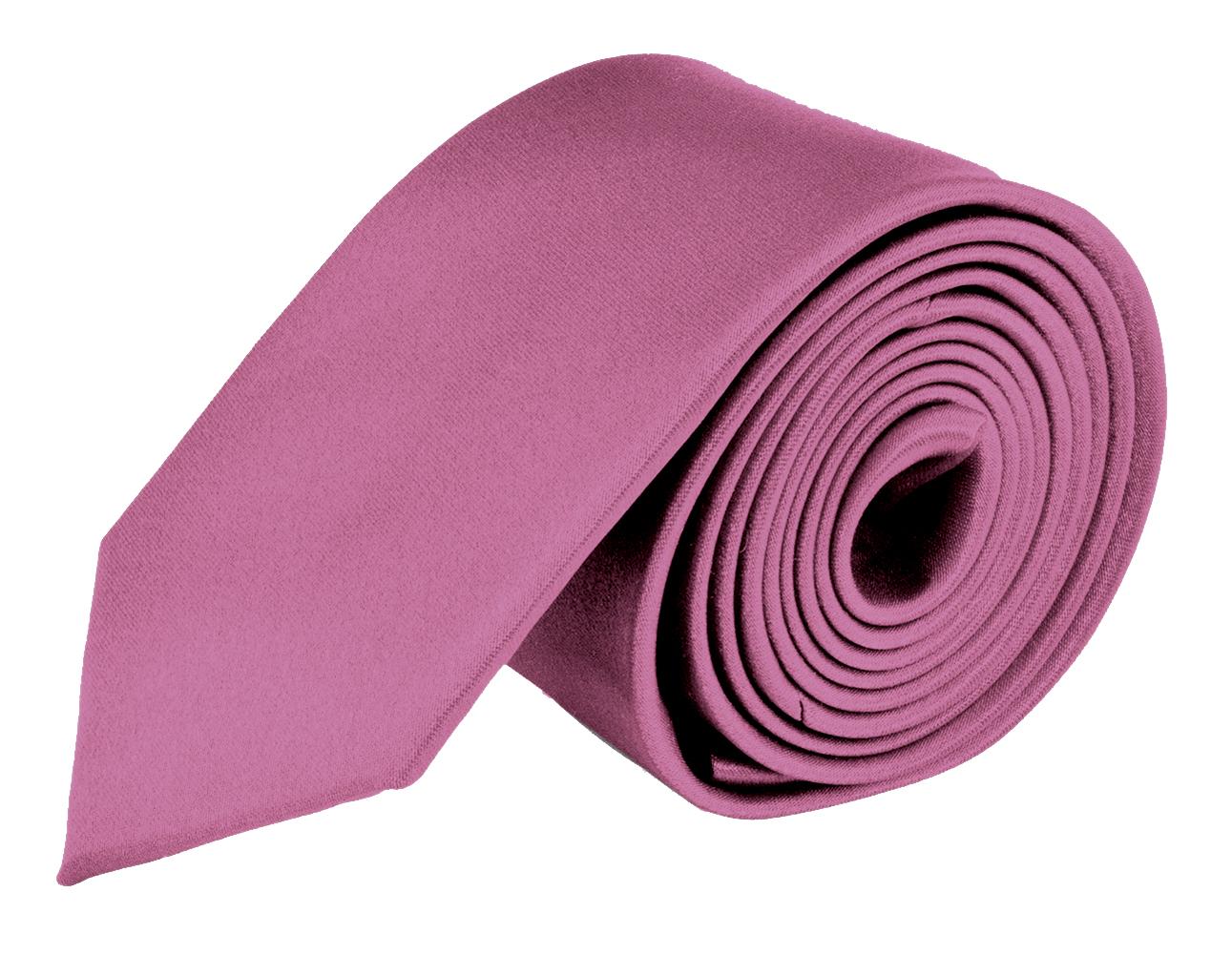 MDR Mens Ties Solid Satin Tie Pure Solid Color Necktie - Rose Pink 2.75 inch
