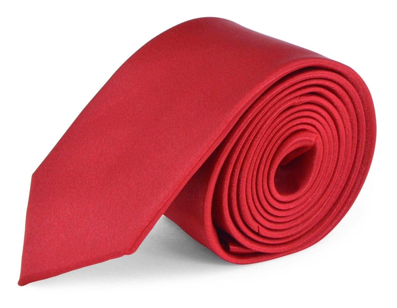 Ties For Mens Skinny Slim Silk Finish Fashion Long Necktie - Solid Color MDR - Red