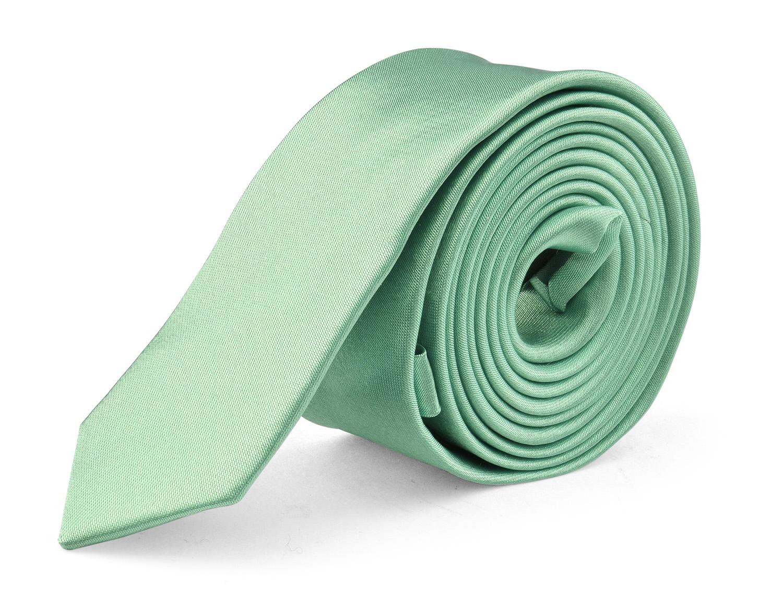 Ties For Mens Skinny Slim Silk Finish Fashion Long Necktie - Solid Color MDR - Aqua Green