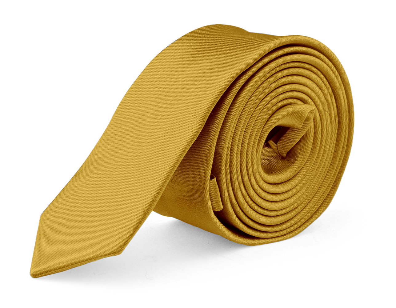 Ties For Mens Skinny Slim Silk Finish Fashion Long Necktie - Solid Color MDR - Honey Gold