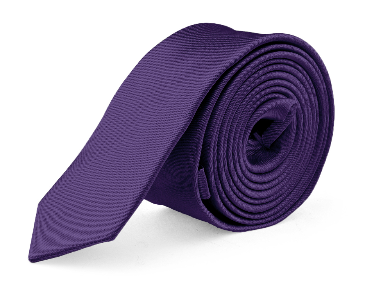 Ties For Mens Skinny Slim Silk Finish Fashion Long Necktie - Solid Color MDR - Dark Purple