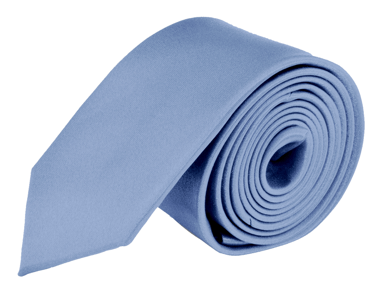 Moda Di Raza- Mens Skinny Slim Neck Tie - Silk Finish Polyester Men Necktie - Solid Color Long Ties for Men - Fashion Tie - Periwinkle