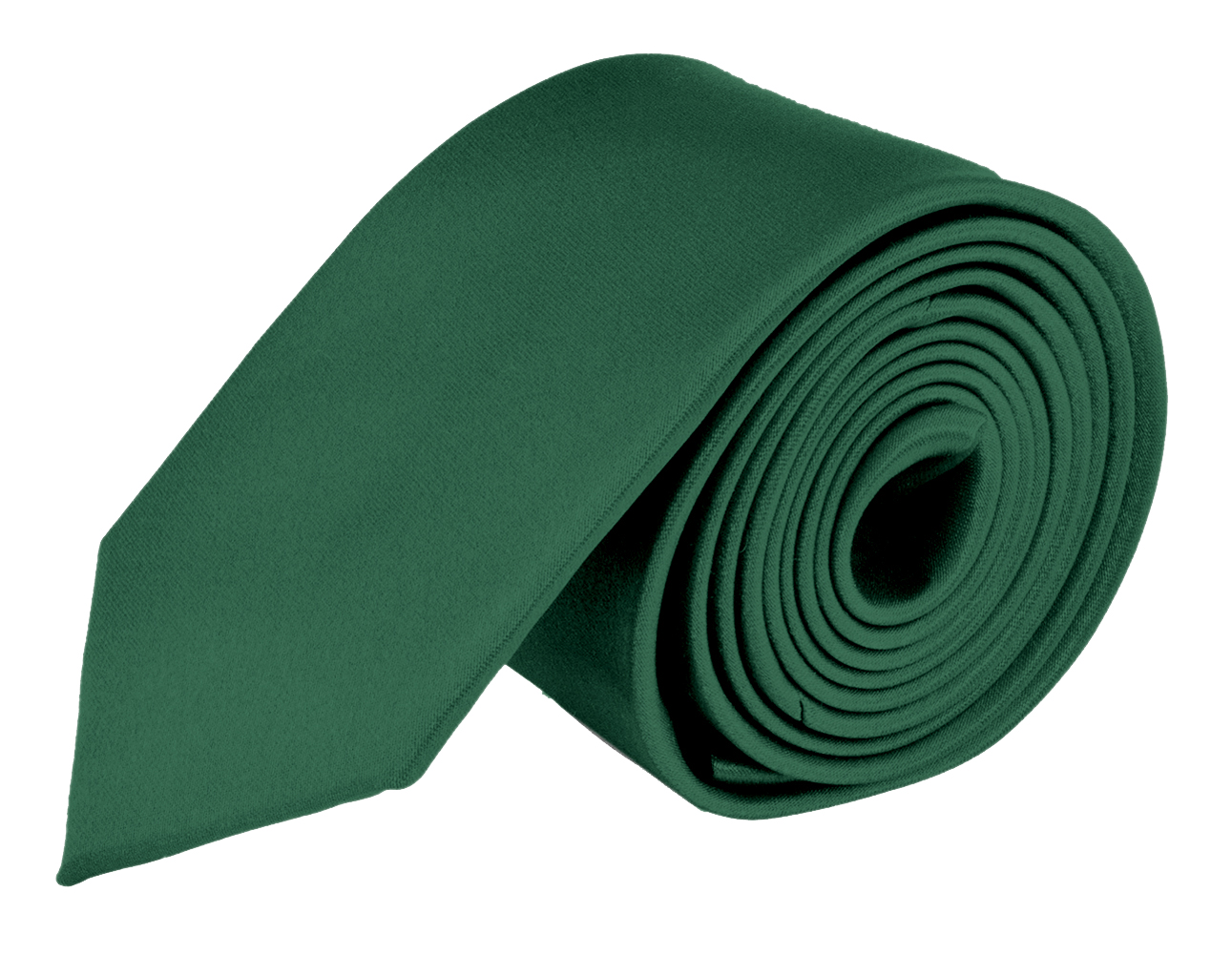 MDR Mens Ties Solid Satin Tie Pure Solid Color Necktie - Hunter Green 2.0 Inch