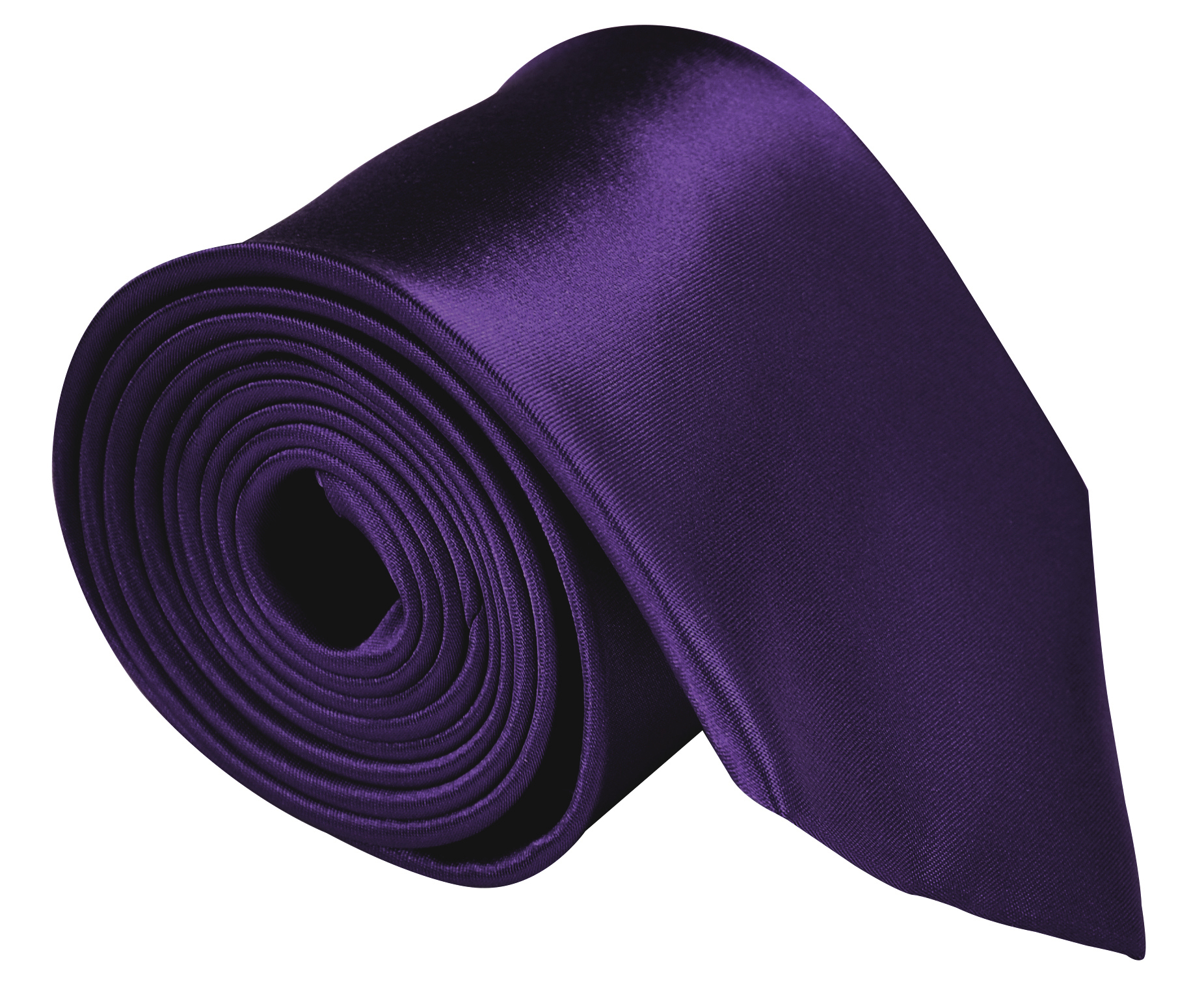 Neckties For Men 3.5 Microfiber Woven Satin Solid Color Ties - Dark Purple