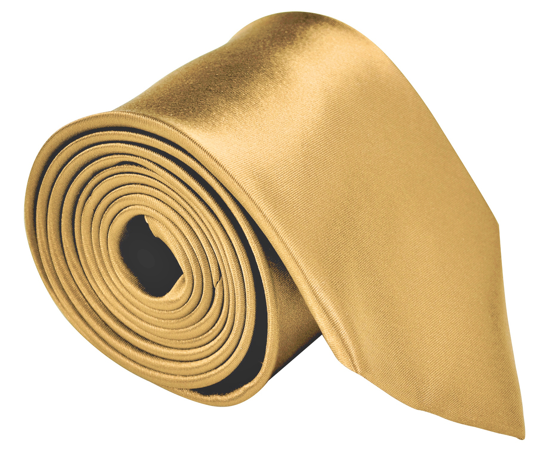 Neckties For Men 3.5 Satin Finish Men Ties Microfiber Solid Neck Tie - Honey Gold