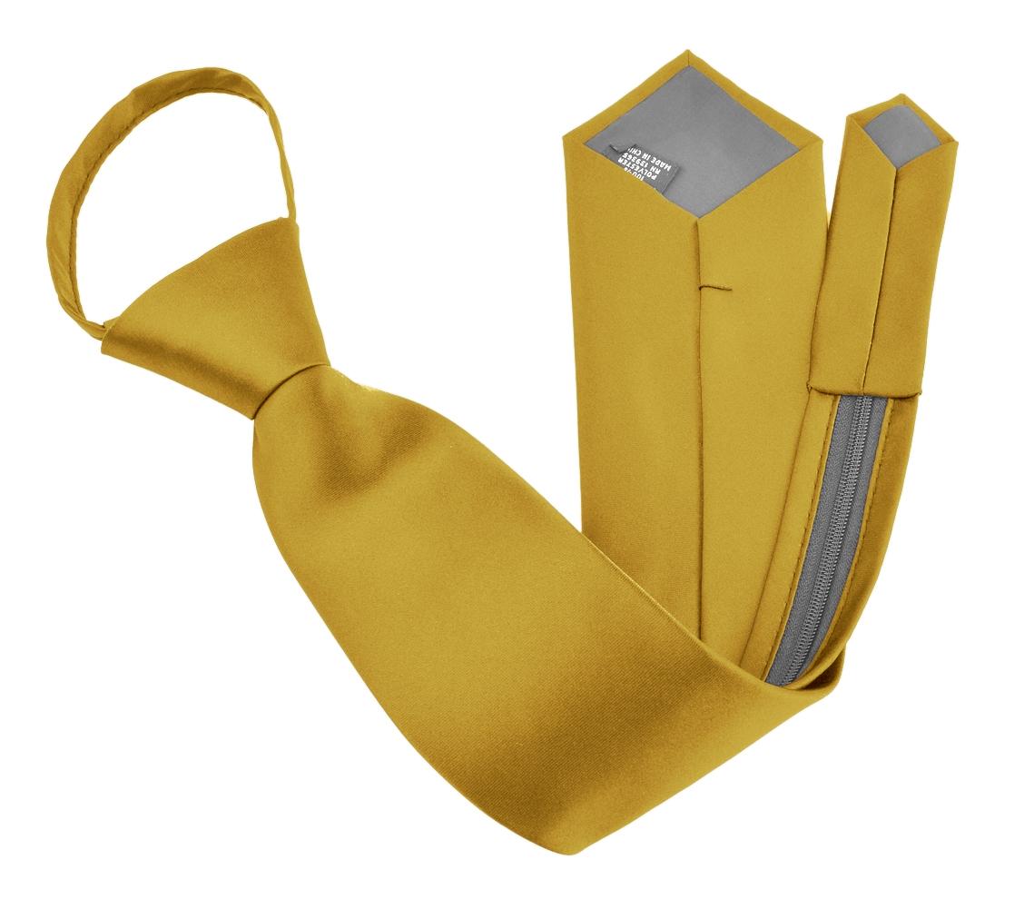 Zipper Ties For Men Zip Neckties Woven Microfiber Satin Silk Finish Neck Tie - Honey Gold 17 inches