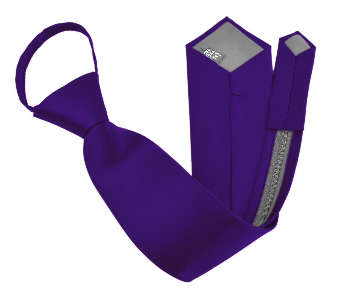 Zipper Ties For Men Zip Neckties Woven Microfiber Satin Silk Finish Neck Tie - Dark Purple 20 Inch