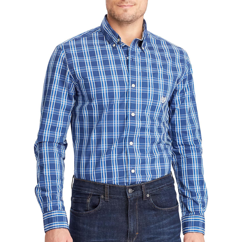 Chaps Men's Long Sleeve Easy Care Button Down Shirt - Deep Ocean - Medium