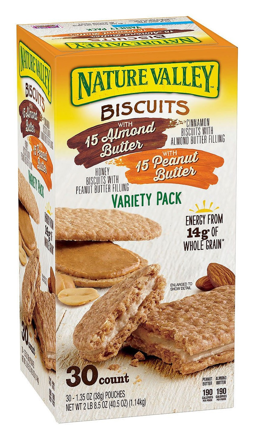 Nature Valley Biscuit Sandwich Almond Butter & Peanut Butter Variety Pack (1.35 oz ea., 30 ct.)-copy