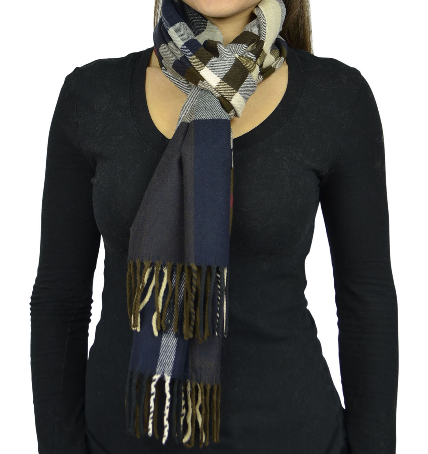 Belle Donne- Unisex Cashmere Feel Scarf - Plaid / Warm Winter Fashion Scarves - Navy