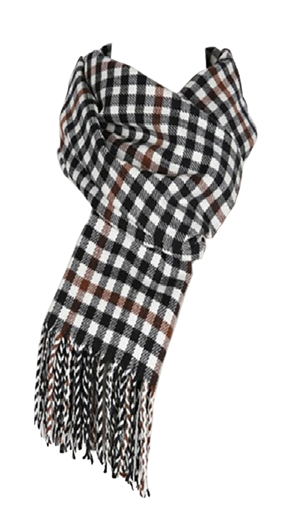 Belle Donne - Womens and Mens Cashmere Feel Winter Plaid Scarves Shawl Wrap - Woman, Man, Boys Girls Houndstooth Warm Winter Scarf Scarves - White