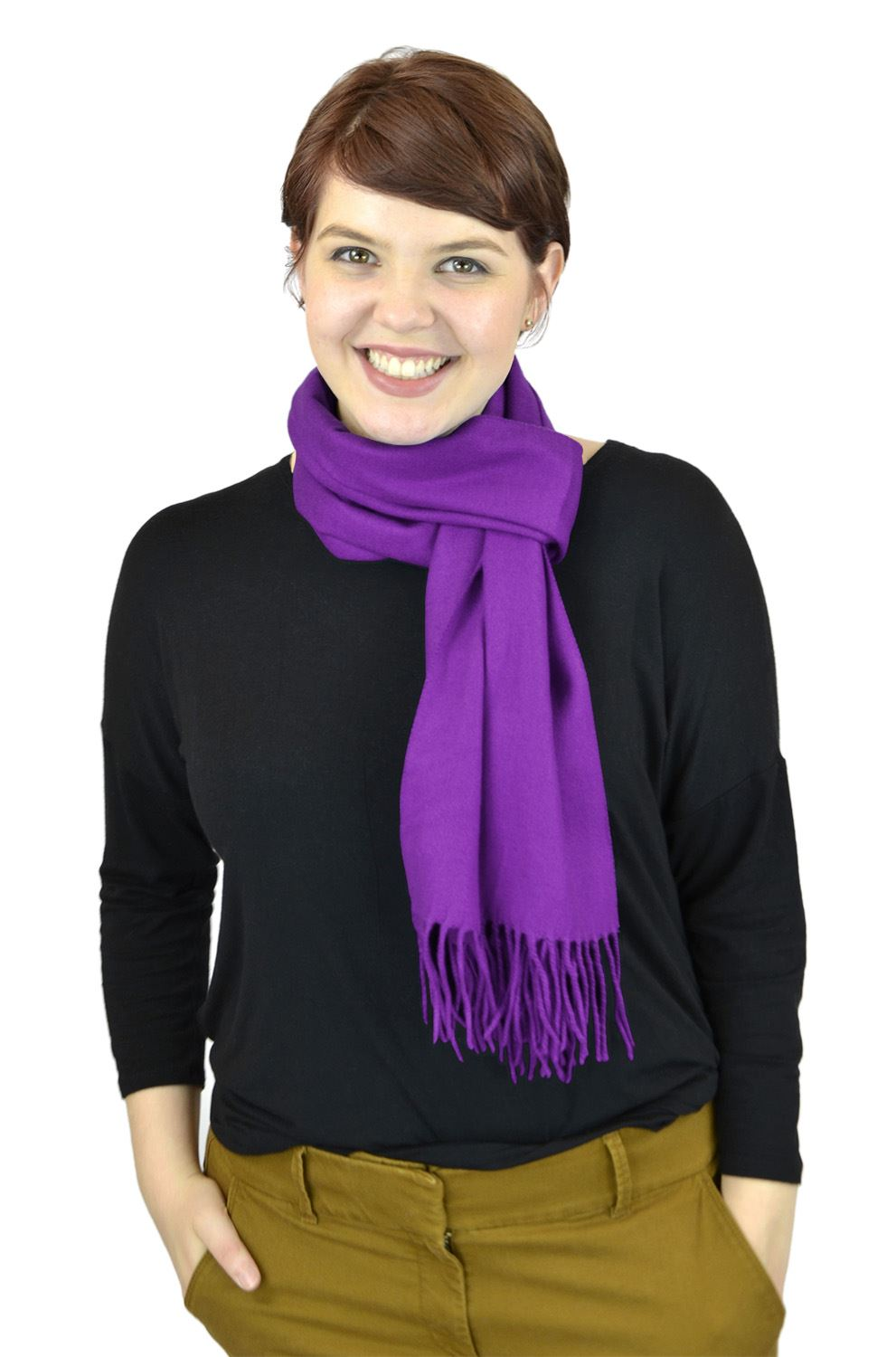 Belle Donne Women Scarves Girls Scarf Cashmere Feel Scarves Winter Solid Scarves - Violet