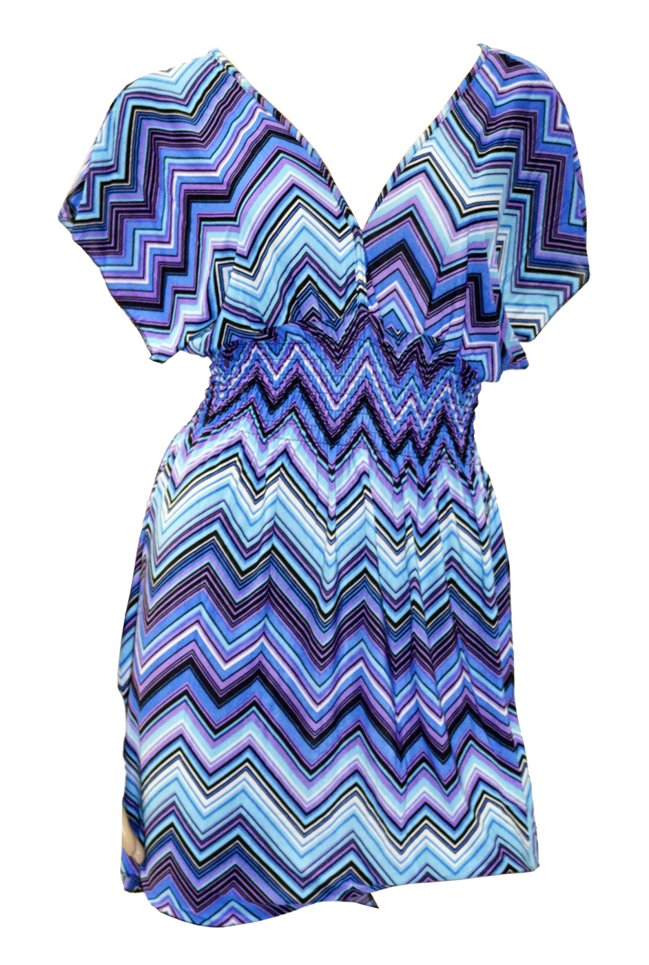 Belle Donne -Women's Sundress Multi-Color Chevron Prints Summer Pullover Dress -