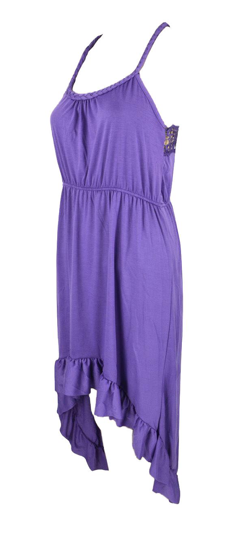 Belle Donne Women's Solid Lace Back High-low Dress - Purple/Medium