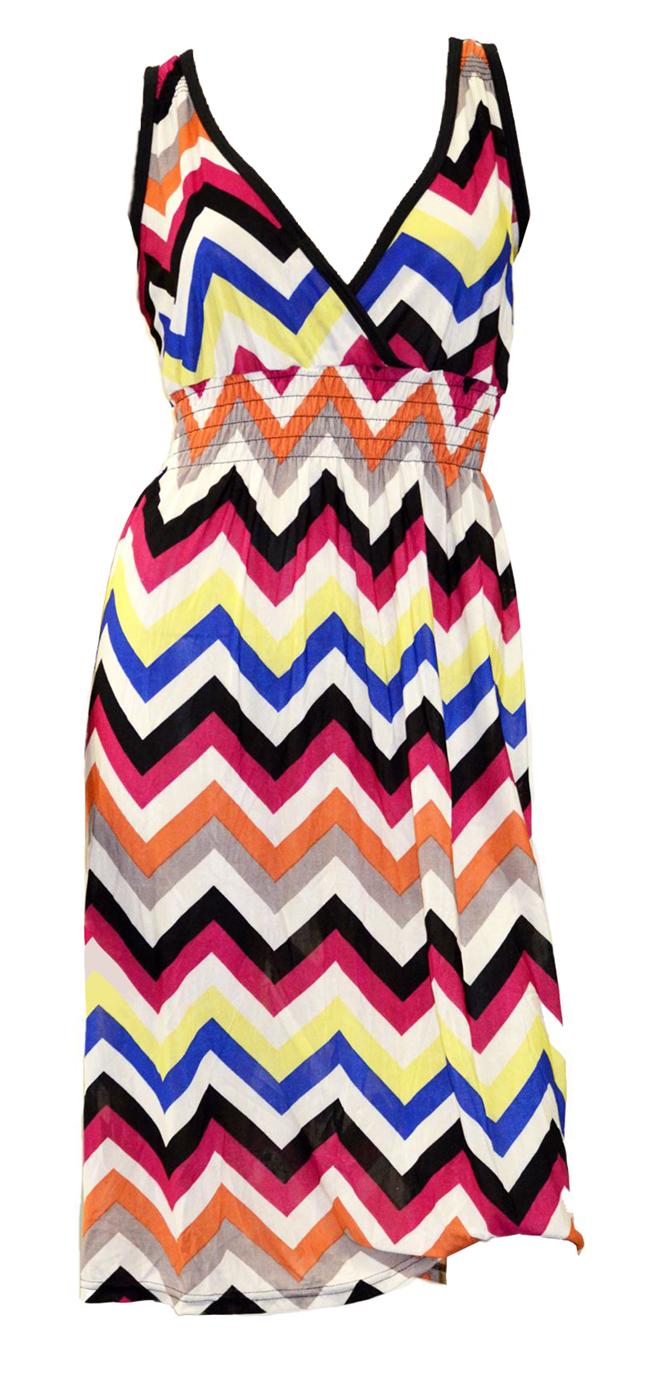 Belle Donne -Womenâ€s Sun dress Multi-Color Chevron Prints Summer Pullover Dress -