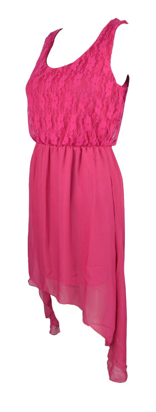 Belle Donne Women's High-Low Lace Top Sundress - Fuchsia/Medium
