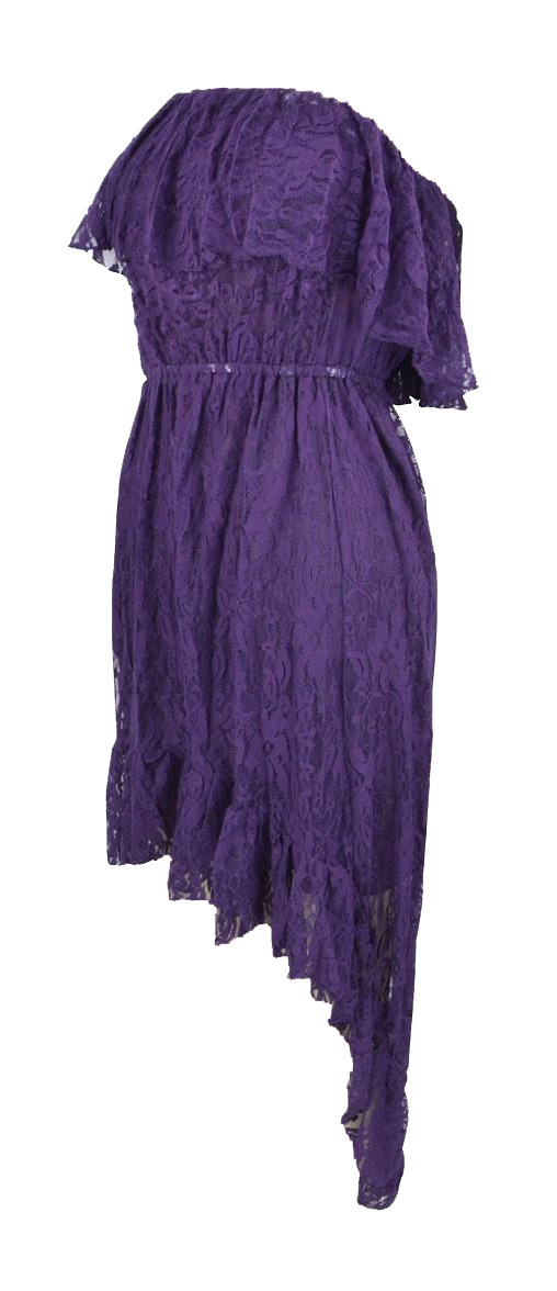 Belle Donne Women's Lace High-Low Baby Doll Dress - Purple/Medium
