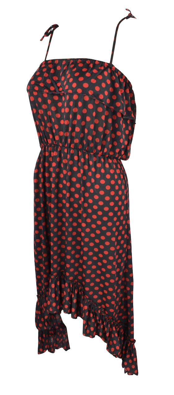 Belle Donne Women's Polka Dot Ruffle Top High low Dress - Red/Medium