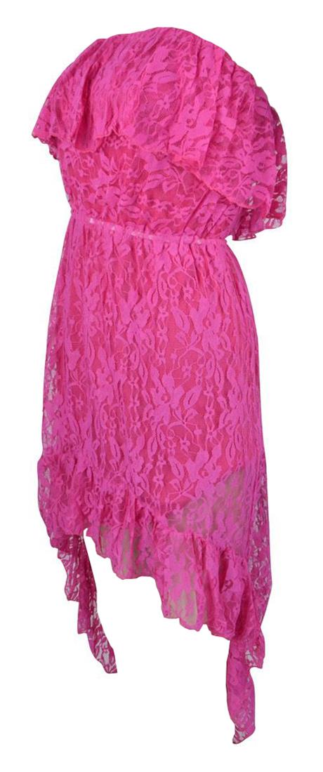 Belle Donne Women's Lace High-Low Baby Doll Dress - Fuchsia/Medium