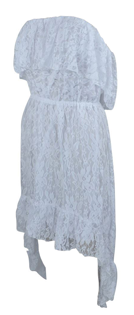 Belle Donne Women's Lace High-Low Baby Doll Dress - White/Large