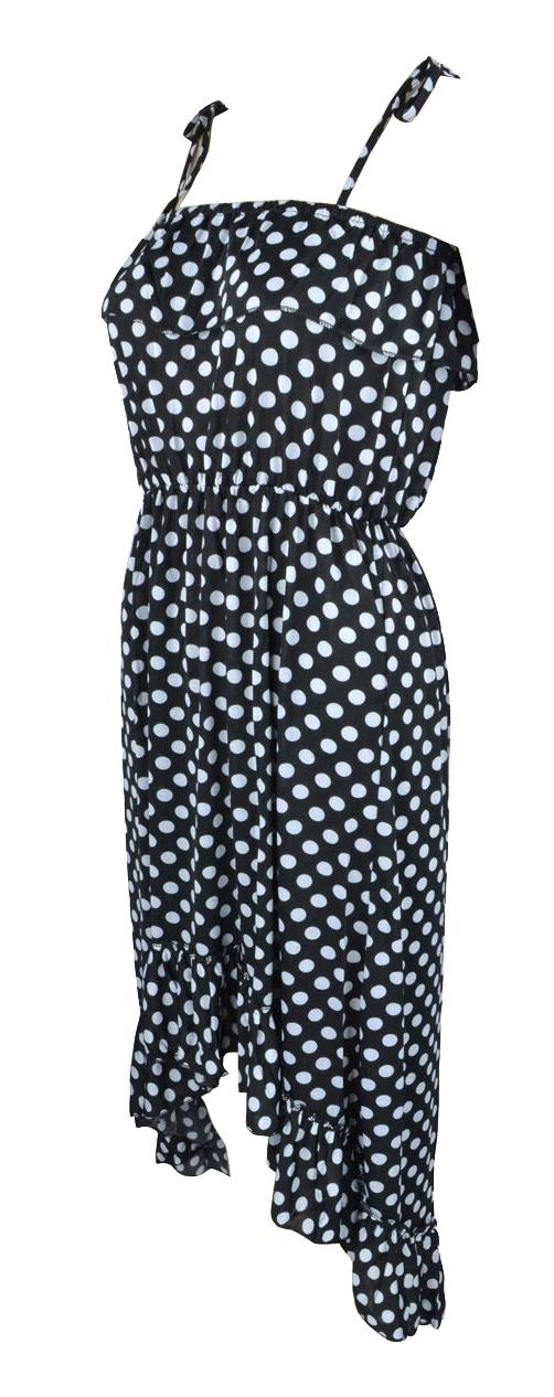 Belle Donne Women's Polka Dot Ruffle Top High low Dress - White/Medium