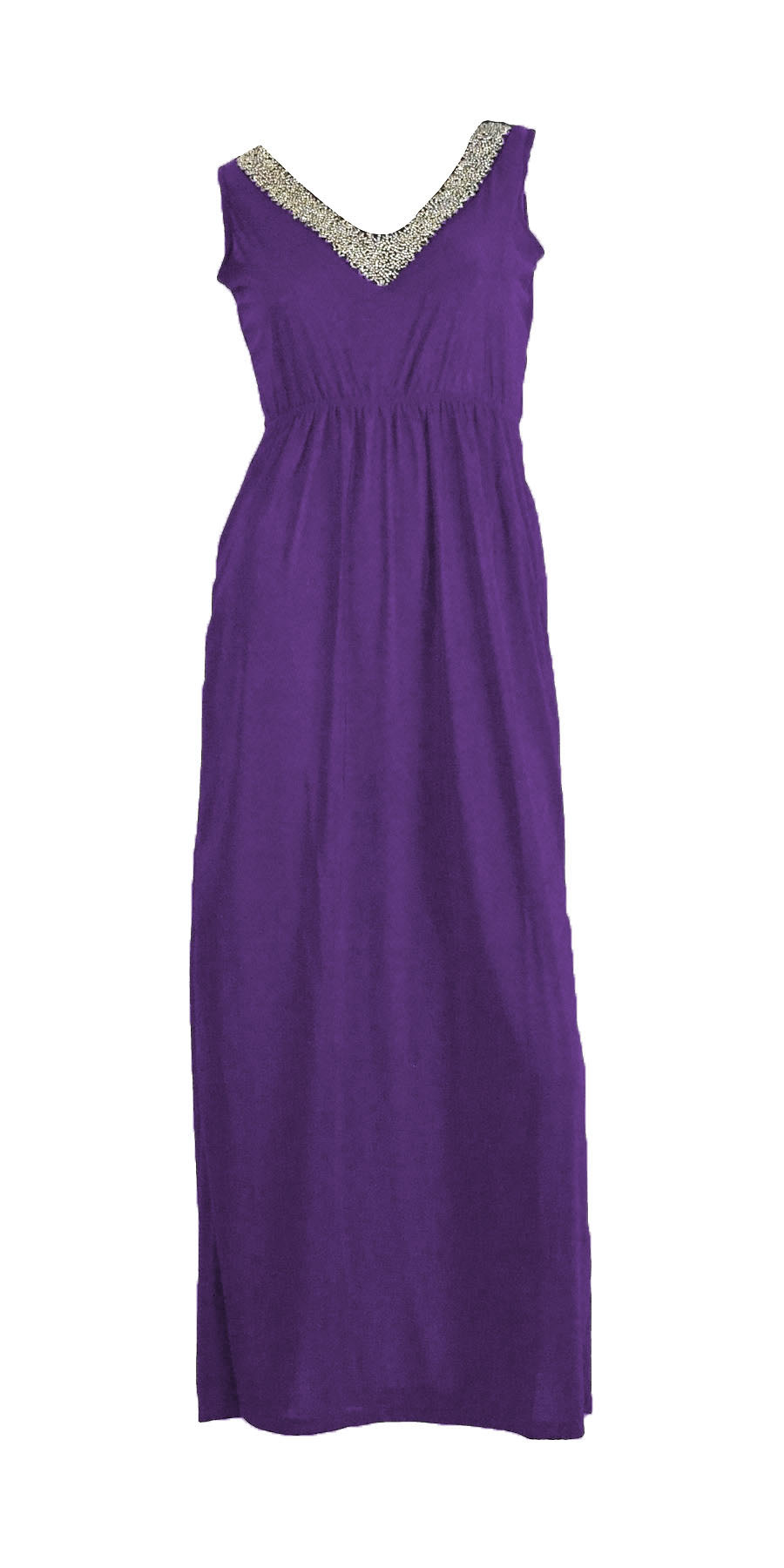 Belle Donne- Womenâ€TMs Maxi Dress Sleeveless Halter Top Solid Colors Long Dress - Purple