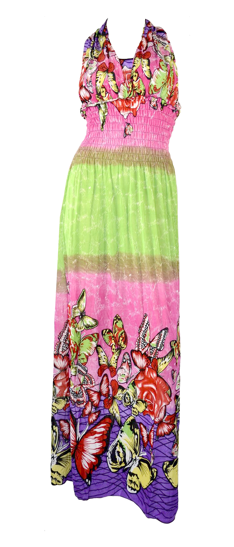 Belle Donne Women's Clothing Butterfly Design Summer Maxi Dress-Pink-Green/L
