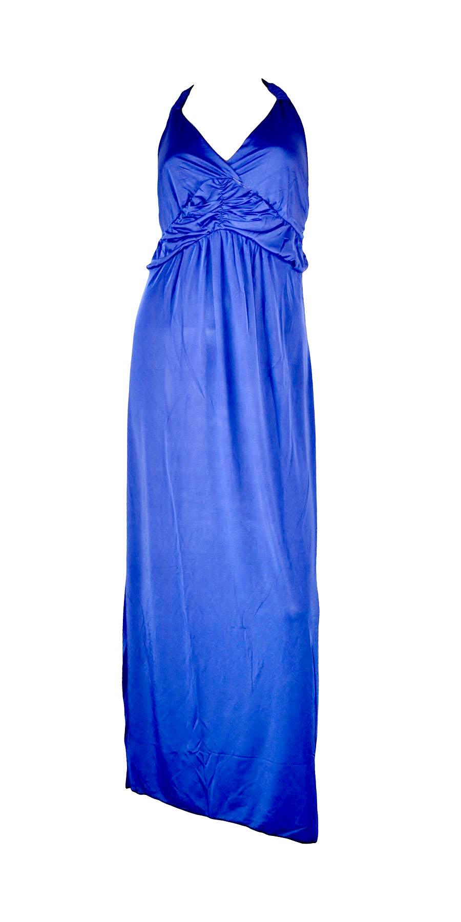Belle Donne- Womenâx20AC;TMs Maxi Dress Sleeveless Halter Top Solid Colors Long Dress - Blue
