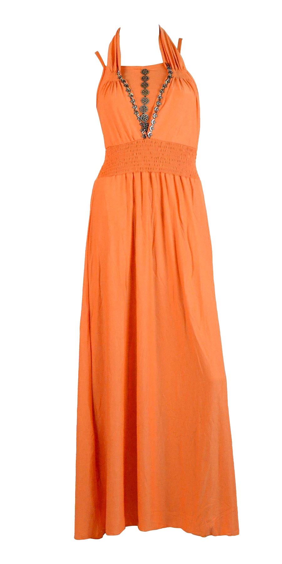 Belle Donne- Womenâ€TMs Maxi Dress Sleeveless Halter Top Solid Colors Long Dress - Orange