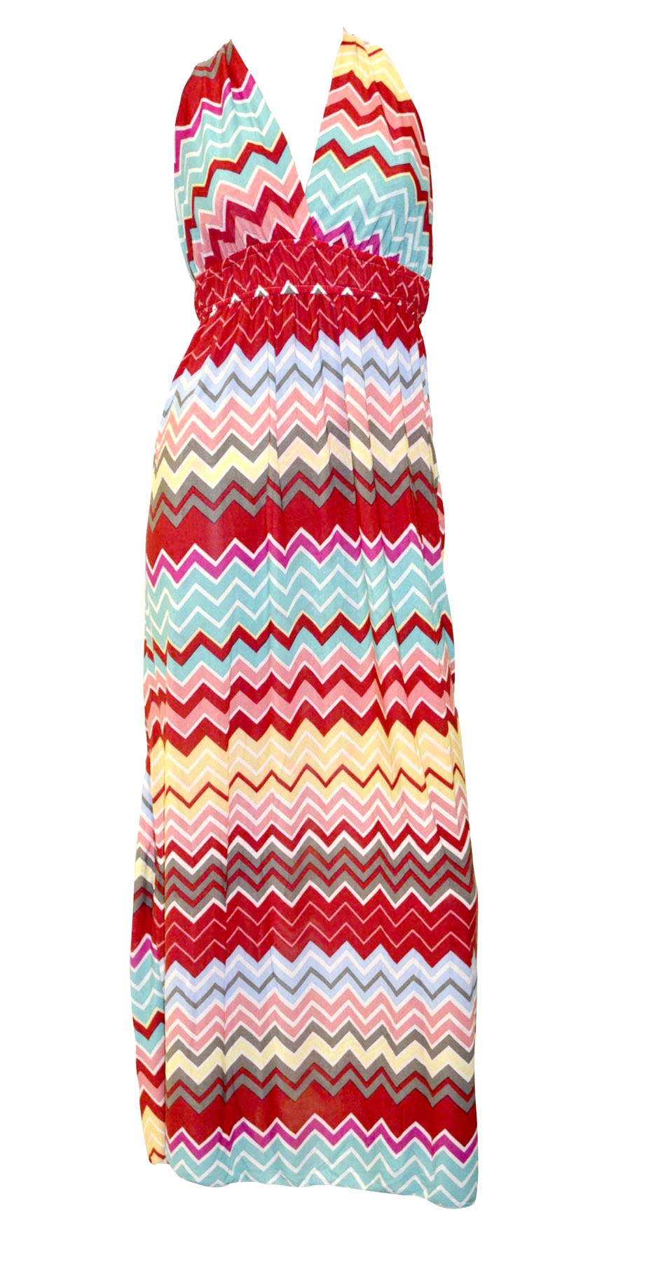 Belle Donne-Womens Clothing Summer Long Dress- Green Chevron Print -Red/L